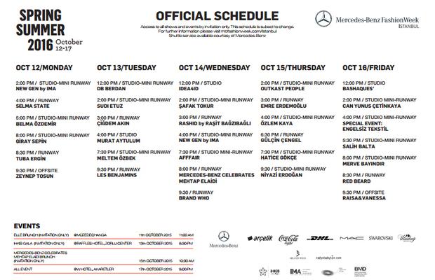 Istanbul Fashion Week Ekim 2015 programı